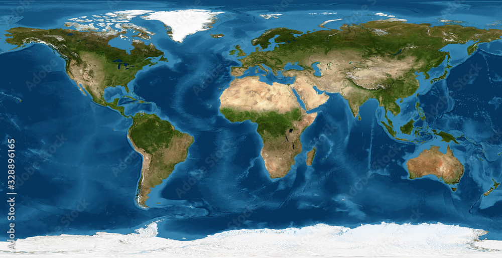 Fototapeta Earth flat view from space. Detailed World physical map on global satellite photo. Elements of this image furnished by NASA.