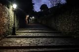 Fototapeta Uliczki - Dark medieval cobbled alley at night with several street lamps providing light