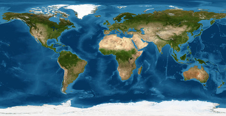 Earth flat view from space. Detailed World physical map on global satellite photo. Elements of this image furnished by NASA.