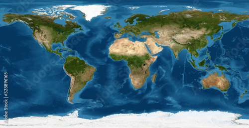 obraz lub plakat Earth flat view from space. Detailed World physical map on global satellite photo. Elements of this image furnished by NASA.