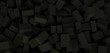 3d ILLUSTRATION, of black abstract crystal background, cube texture, wide panoramic for wallpaper
