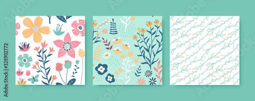 Obraz Flower spring hand drawn seamless pattern set - fototapety do salonu