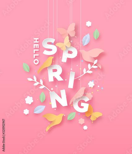 Obraz Hello spring paper cut card of nature season icons - fototapety do salonu