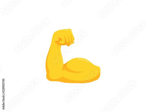 Biceps vector isolated emoji gesture flat illustration Canvas Print