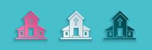 Paper Cut Church Building Icon...