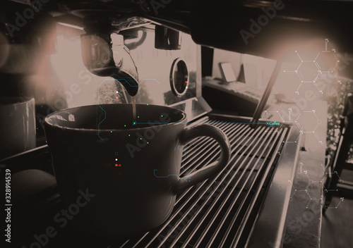 Fototapeta Scanning Ui for espresso pouring from coffee machine by Professional coffee brewing with AR scanning for caffeine software