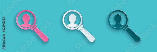Paper cut Magnifying glass for search a people icon isolated on blue background Canvas Print