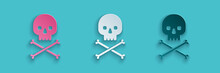 Paper Cut Skull On Crossbones Icon Isolated On Blue Background. Paper Art Style. Vector Illustration