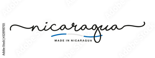Made in Nicaragua handwritten calligraphic lettering logo sticker flag ribbon ba Canvas Print