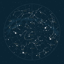 Northern Hemisphere. High Detailed Star Map Of Vector Constellations. Astrological Celestial Map With Symbols And Signs Of Zodiac