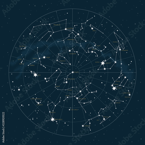 Obraz Northern hemisphere. High detailed star map of vector constellations. Astrological celestial map with symbols and signs of zodiac - fototapety do salonu