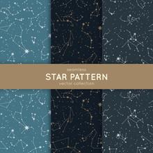 Set Of Seamless Star Pattern. ...