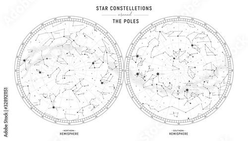 Star constellations around the poles Canvas Print
