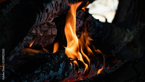 Photo fire in fireplace