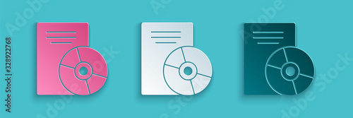 Obraz na plátne Paper cut CD or DVD disk icon isolated on blue background