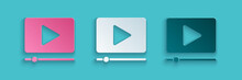 Paper Cut Online Play Video Icon Isolated On Blue Background. Film Strip With Play Sign. Paper Art Style. Vector Illustration