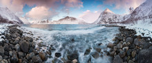 Panorama Of Snowy Fjords And M...