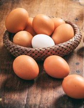 Chicken Eggs In A Basket On Wo...