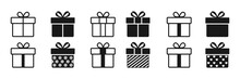 Gift Box Icon In Line Style Isolated On White. Vector Illustration