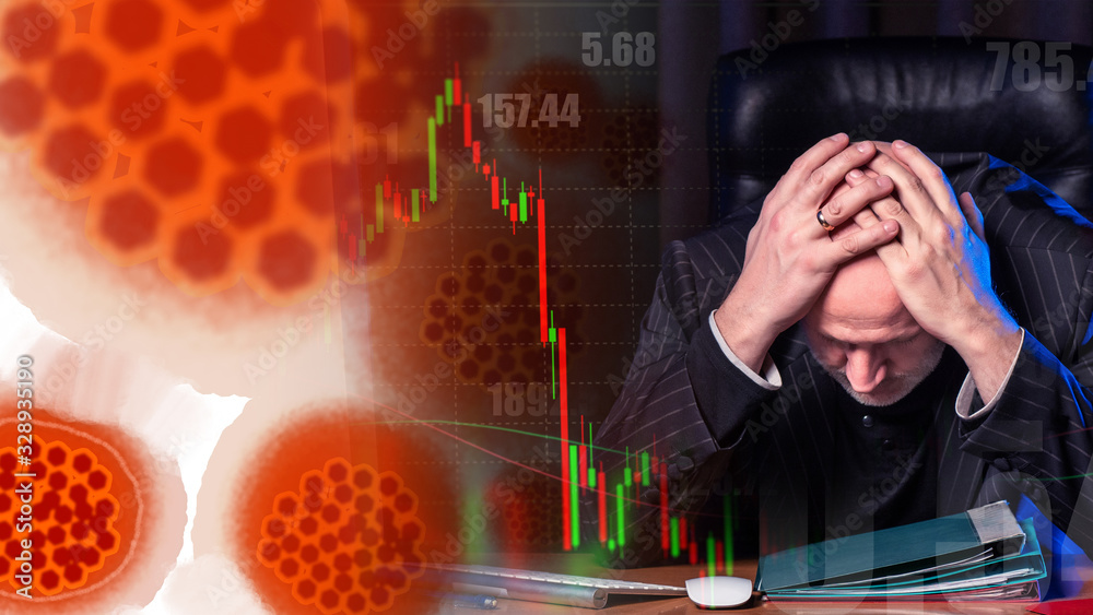 Fototapeta An investor is losing money due to an epidemic. The owner of the shares incurs losses. Virus molecules next to a man in a cabin. The graphic shows the loss of profit. Stock market panic