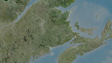 New Brunswick, Canada - Outlined. Satellite