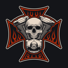 Vector Biker's Cross With A Mo...