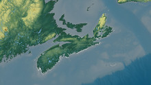 Nova Scotia, Canada - Outlined. Relief