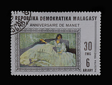 Postage Stamp Of The Republic Of Malgash With A Picture Of Manet.