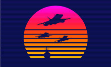 Aircraft Synthwave Sunset Vector Silhouettes
