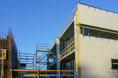 wall assembly of a new building using steel sandwich panels Canvas Print