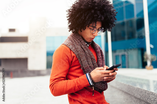 Stylish mixed race man, great design for any purposes. young student guy. Youth lifestyle.