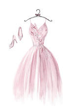 Watercolor Pink Wedding Dress ...