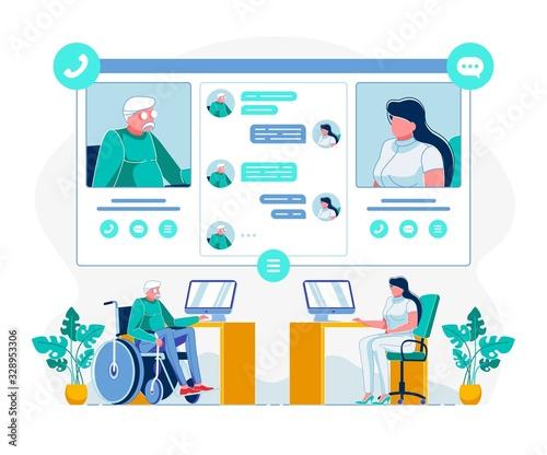 Obraz Telemedicine for Disabled Individuals Illustration - fototapety do salonu