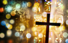 Deliberately Blurred Cross Inside A Church
