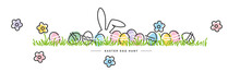 Easter Egg Hunt Line Design Bunny Flowers Colorful Eggs In Grass Happy Easter White Greeting Card