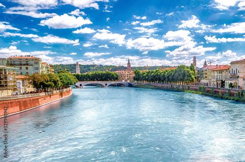 Photo View Over Adige River in Verona, Italy