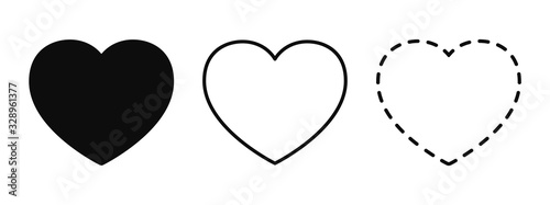Set of different hearts icons - vector Wallpaper Mural