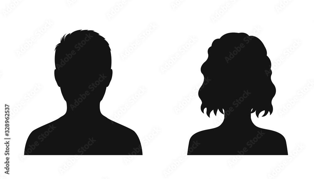 Fototapeta Man and woman head icon silhouette. Male and female avatar profile sign, face silhouette logo – vector
