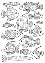 Doodle Coloring Book Page Fishes Set. Antistress For Adults. Collection Of Black And White Doodle Fishes.