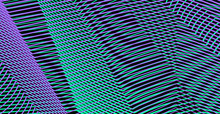 Vector Moire Effect Abstract Holographic Background. Linear Texture Wavy Lines Optical Illusion Phantom Background. For Websites, Business Card, Accessories For Phones And Tablet, Title Page, Image.