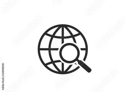 globe search icon. world earth and magnifying glass Wallpaper Mural