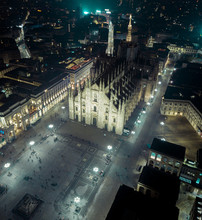 Aerial View Of Milan Cathedral Or Duomo Di Milano In Milan, Northern Italy
