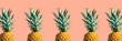 canvas print picture - Many pineapples on a solid color background
