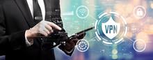 VPN Concept With Businessman U...