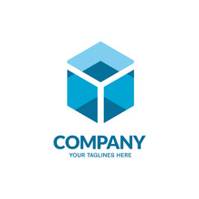 Abstract Blue Square Box Geometric Logo Vector Illustration