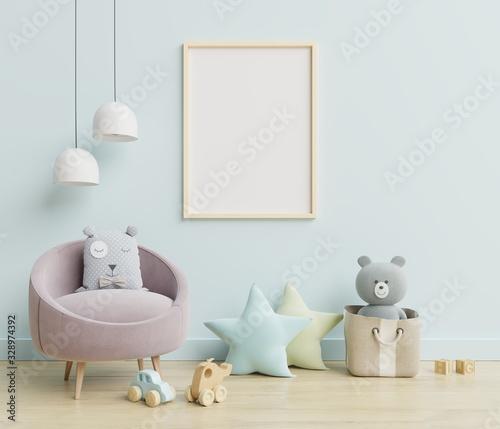 Fototapeta Vertical frame mockup,Interior mockup, kids room, wall frame mockup,nursery mockup. obraz