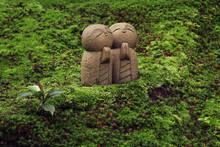 Small Jizo Buddhist Statues In The Moss (Shisen-do Temple In Kyoto)
