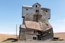 Abandoned Grain Elevator In A Field.  Image Taken In The Palouse, Washington.