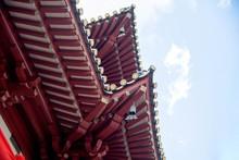 Singapore, January 16, 2020, Architecture Of Buddha Relic Temple With Singapore Urban City Skyline