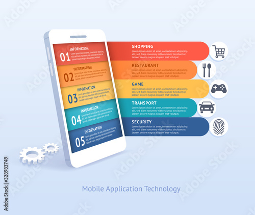 Mobile application technology vector illustrations. Canvas Print